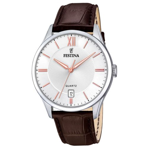 F20426/4 Festina Watch Mens Brown Round Leather Strap Watch